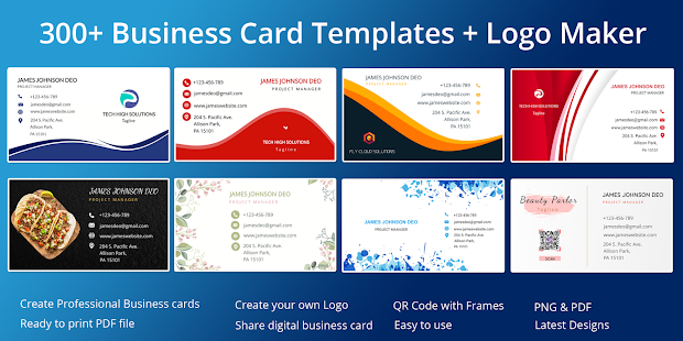 Business Card Maker Free Visiting Card Maker photo 9.0 preview 1