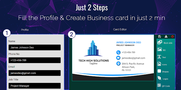 Business Card Maker Free Visiting Card Maker photo 9.0 preview 2